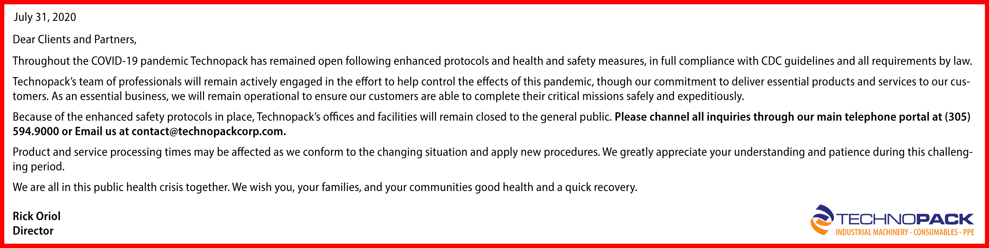 Letter from Director related to COVID-19