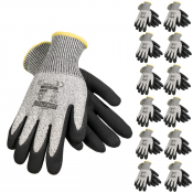 JORESTECH® Palm Dipped Polyurethane Coated Knit Work Gloves PPE Hand Protection. 12 Pack (S-GD-03)