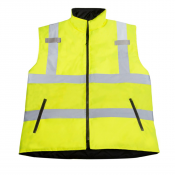 JORESTECH® High Vis Reversible Insulated Safety Vest with ANSI Compliant Reflective Tape Body-warmer