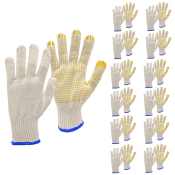 JORESTECH® knitted work gloves with PVC dots. 12 Pack (S-GS-02-WD)