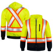 High Visibility Safety Sweater – Two Tone Lime / Yellow with Reflective X in Back