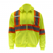 High Visibility Safety Sweater – Lime / Yellow with Reflective X in Back