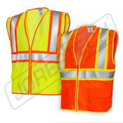 ANSI/ISEA 107-2015, Type R Class 2, Two Tone, Three Pockets, 100% Polyester Mesh Vest (S-VL-04) - Main Picture