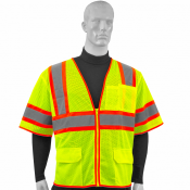 ANSI/ISEA 107-2015, Type R Class 3, Two Tone, Four Pockets, 100% Polyester Mesh Vest (S-VL-05) - Main Picture