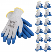JORESTECH® Palm Dipped Crinkle Latex Coated Knit Work Gloves PPE Hand Protection. 12 Pack (S-GD-07)