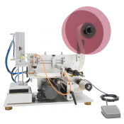 JORESTECH® SEMI AUTOMATIC LABELER MACHINE for Flat Oval Surfaces (E-OMICRON-100 SEMI FLAT)