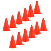 JORESTECH® High Visibility Fluorescent Orange Sport Training Cones. Set of 12 (S-CONE9.05)